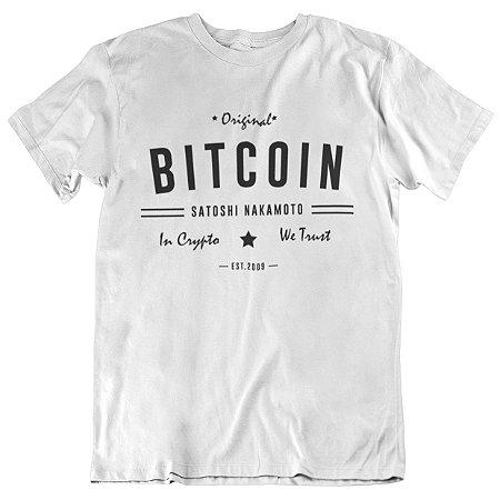Camiseta Tradicional Bitcoin Satoshi - Branca