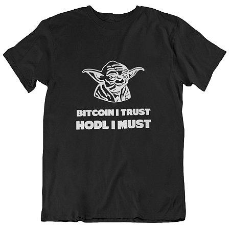 Camiseta Tradicional Bitcoin Yoda - Preta
