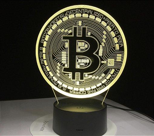 Luminária Bitcoin - 7 Cores (Controle Remoto)