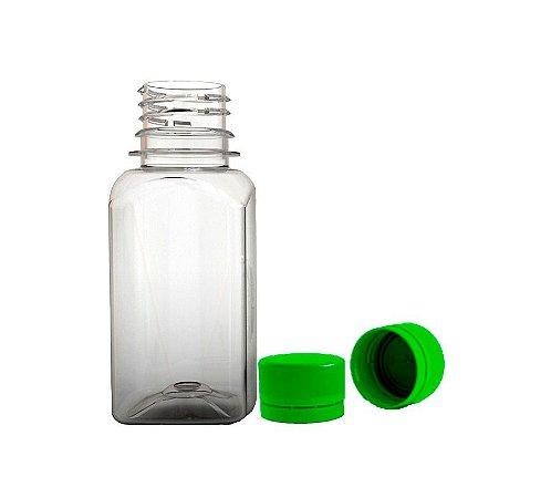Garrafa Plastica Quadrada 100ml + Tampa Lacre