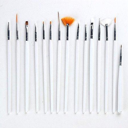 Pinceis P/ Arte Decoração Em Unha Pincel kit c/ 15