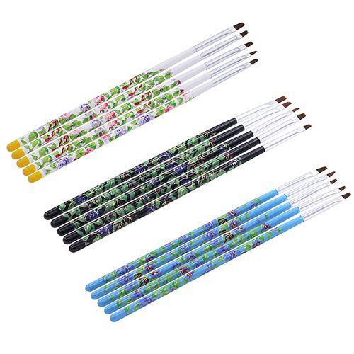 Kit pincel c/5 acrigel / gel uv / artes em geral