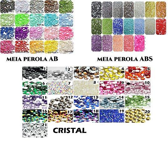 Kit Refil Meia Perola AB ou ABS Ou Cristais (2mm) 2100pçs