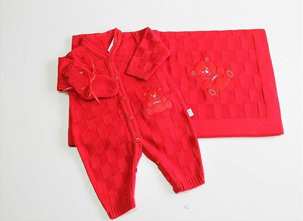 jogo de manta e macacão vermelho unissex