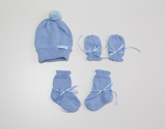 kit baby - gorro, luva e sapatinho tam U