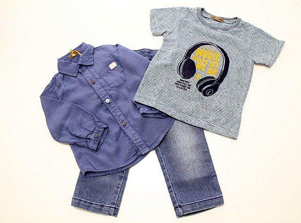 conjunto calça jeans, camisa e camiseta listrada