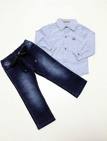 conjunto moletinho jeans e camisa