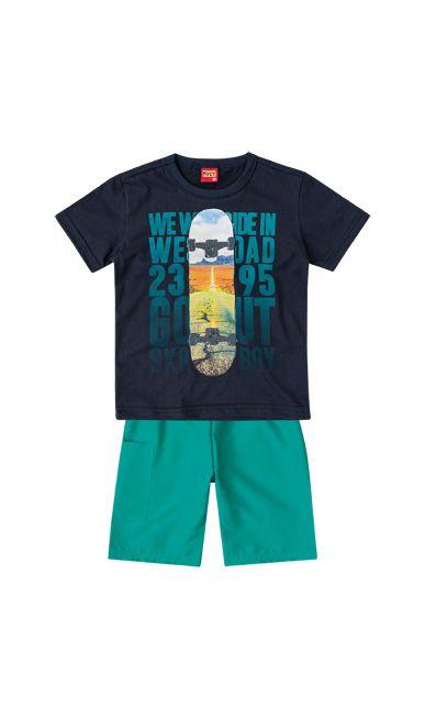 conjunto camiseta e bermuda tactel