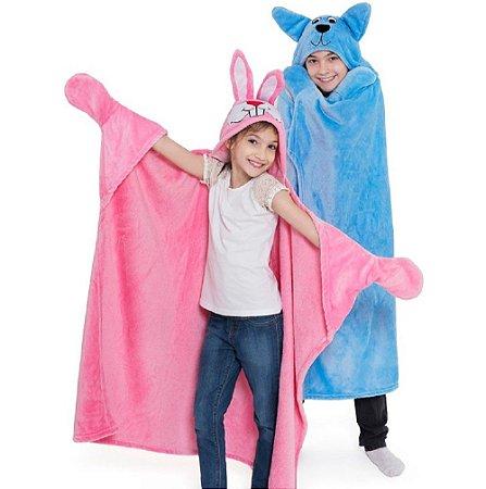 Cobertor TV Infantil Com Manga e Capuz Microfibra Soft
