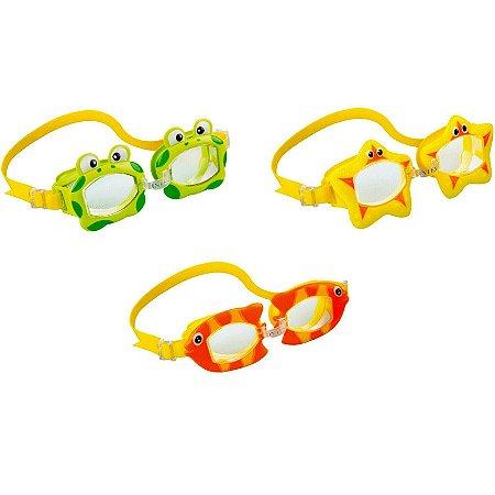 Óculos Ajustável Natação Infantil Mergulho Bichinhos Animados Intex
