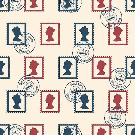 Tecido Selos Britânicos