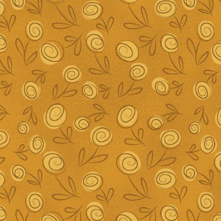 Tecido Floral Doodle Mostarda