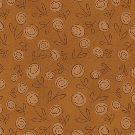 Tecido Floral Doodle Caramelo