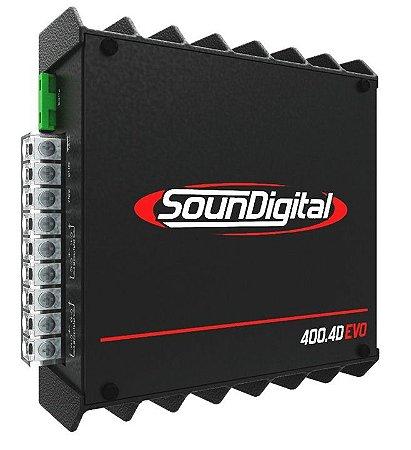 Módulo Amplificador Digital SounDigital SD400.4D EVO II Black - 4 Canais - 400 Watts RMS