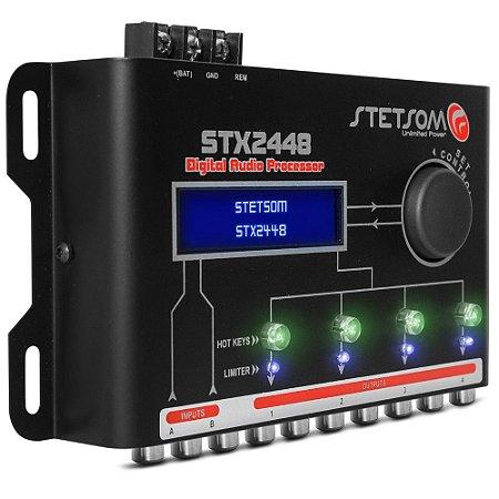 Processador de Áudio Digital Stetsom STX2448 2 Canais 4 Saídas Estéreo Equalizador 10Hz a 22500Hz