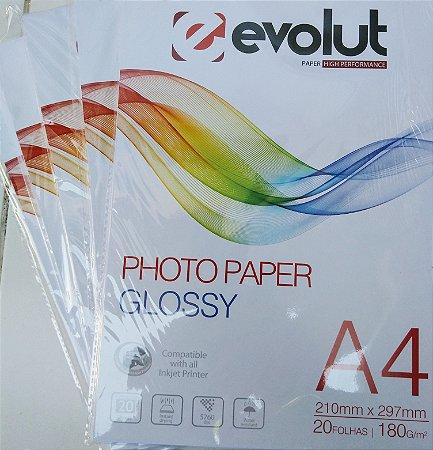 PAPEL FOTOGRÁFICO BRILHANTE A4 180G PACOTE COM 20 FOLHAS EVOLUT