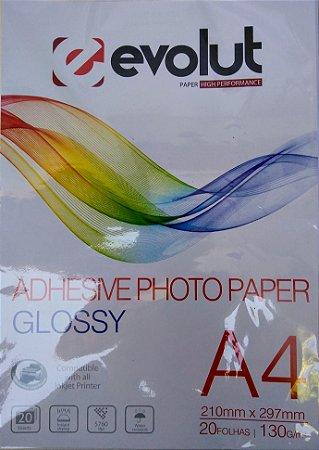 PAPEL FOTO ADESIVO BRILHANTE  A4 130G PACOTE COM 20 FOLHAS EVOLUT