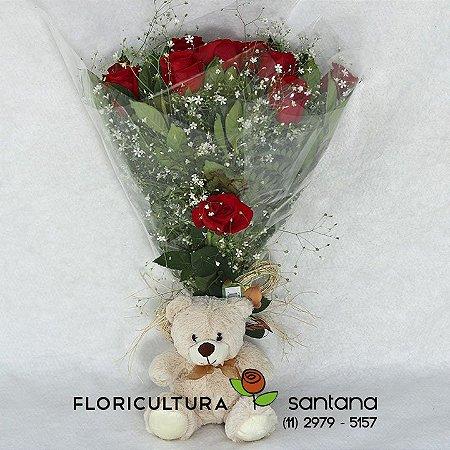 Buquê com 12 Rosas Elegance com Pelúcia.