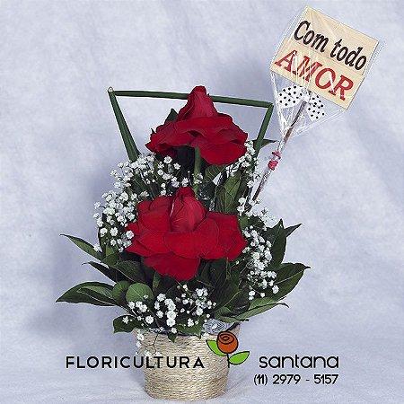 Arranjo 2 Rosas com Mensagem