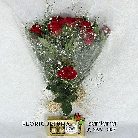 Buquê de Rosas Vermelhas Elegance e Ferrero Rocher