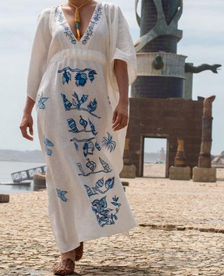 Vestido kaftan Florais