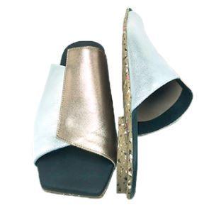 Sandália Bicolor Couro Metalizado