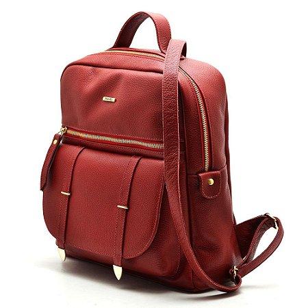 bb6e585bea Mochila Hendy Bag Couro Vermelha - Hendy bag