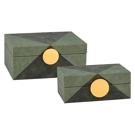 Cj. De Caixas Aveludadas Preta e Verde com Puxadores de Metal