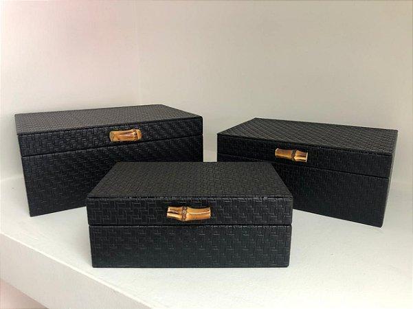 Cj. De Caixas de Madeira Preto com Puxador de Bambu - 3Pcs