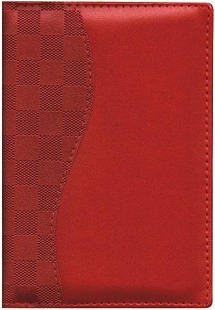Agenda Diária Capa Lisa com Recorte Xadrez Vermelho AG2209