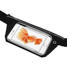 Pochete Cinto Porta Celular Fitness Corrida Até 5.5 Pol Impermeável Preto