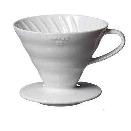 Coador de Café Hario v60-02 Cerâmica Branco 2-4 Xícaras