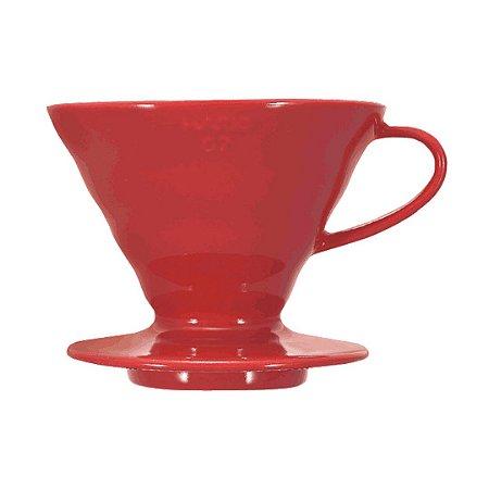 Coador de Café Hario v60-02 Cerâmica Vermelha 2-4 Xícaras