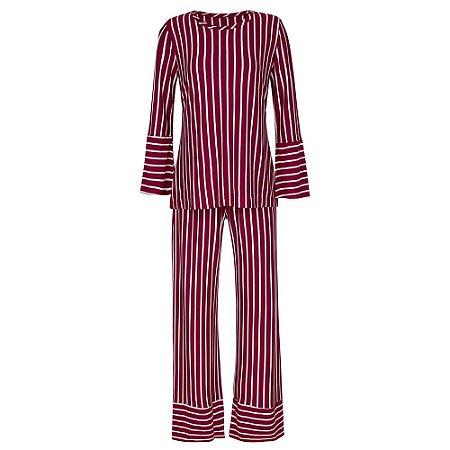 Pijama Listrado Vinho