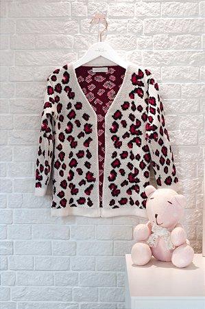 Cardigan Onça Pink