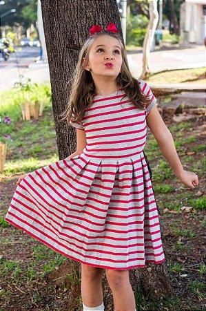 Vestido Lauren Listras Vermelho