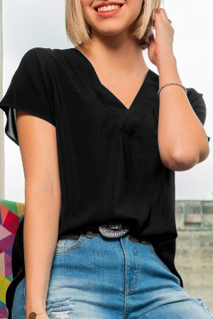 Blusa V Basic Black