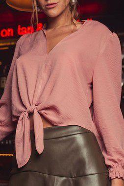 Blusa Cropped Nati Rosa Amarração
