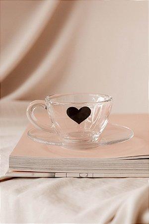 Xícara de Vidro Coração Preto