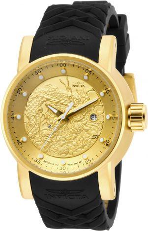 Relógio Invicta S1 Yakuza 15863 Preto Automático Banhado Ouro 18k 48mm