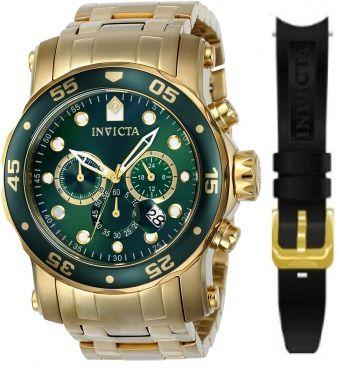 Relógio Invicta Pro Diver 23653 Banhado Ouro 18k Cronografo 48mm Dourado Troca Pulseira