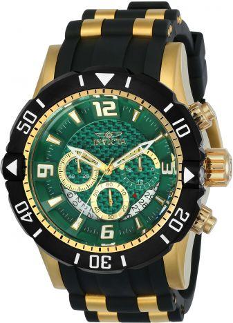 Relógio Invicta Pro Diver 23703 Banhado Ouro 18k Fundo Verde Cronografo 50mm