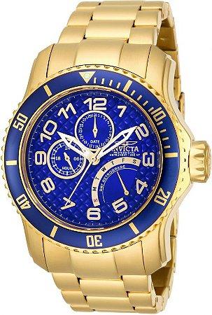 Relógio Invicta Pro Diver 15342 Banhado Ouro 18k Fundo Azul 48mm Calendário Duplo