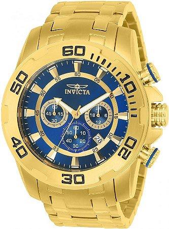 Relógio Invicta Pro Diver 22321 Cronografo 50mm Banhado Ouro 18k