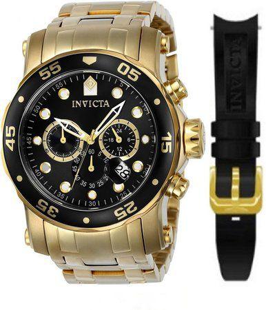 Relógio Invicta Pro Diver 23650 Troca Pulseira Banhado Ouro Cronografo