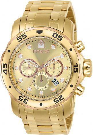 Relógio Invicta Pro Diver 80071 Cronografo 48mm Banhado Ouro 18k