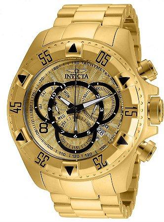 Relógio Invicta Excursion Reserve 24263 Banhado Ouro 18k Cronografo 52mm