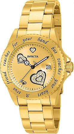 Relógio Invicta Angel Collection 14733 Feminino 40mm Banhado Ouro 18k