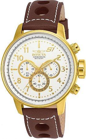 Relógio Invicta S1 Rally 16011 Cronografo 48mm Banhado Ouro 18k Pulseira Couro