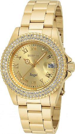 Relógio Invicta Angel Feminino 19513 Banhado Ouro 18k Swiss 40mm